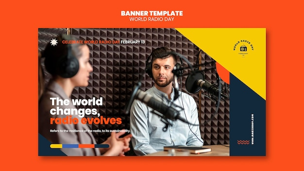 Horizontal banner template for world radio day with broadcaster and microphone