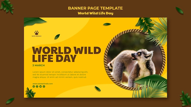 Horizontal banner template for world wildlife day with animal