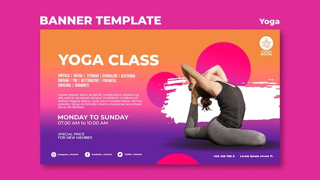 Horizontal banner template for yoga class with woman