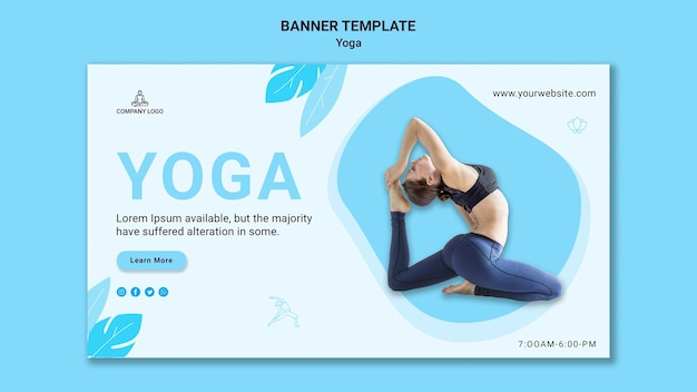 Horizontal banner template for yoga exercise
