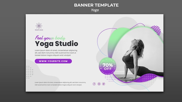 Horizontal banner template for yoga lessons