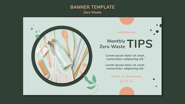 Horizontal banner template for zero waste lifestyle