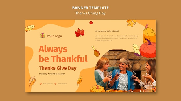 Horizontal banner for thanksgiving celebration