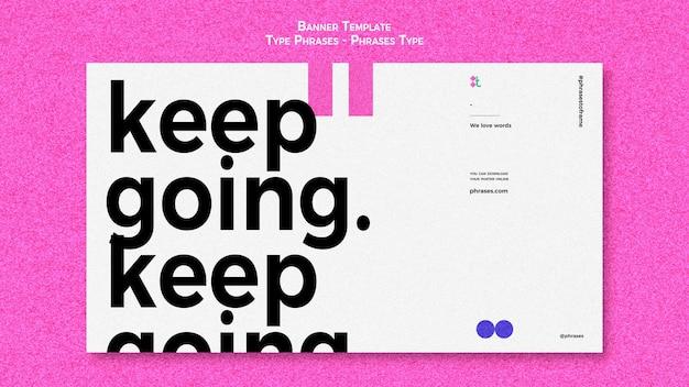 Horizontal banner for type phrases