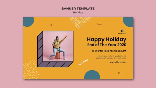Horizontal banner for vacations with female backpacker