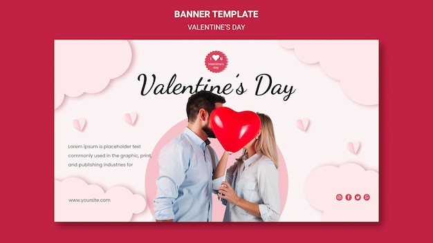 Horizontal banner for valentine's day with couple in love