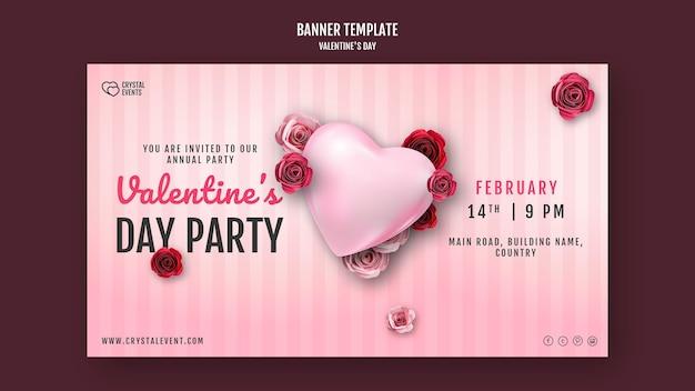 Banner orizzontale per san valentino con cuore e rose rosse