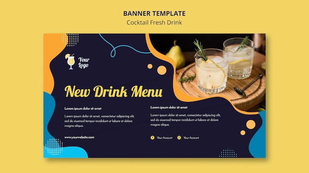 Horizontal banner for variety of cocktails