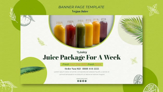 Horizontal banner for vegan juice delivery company