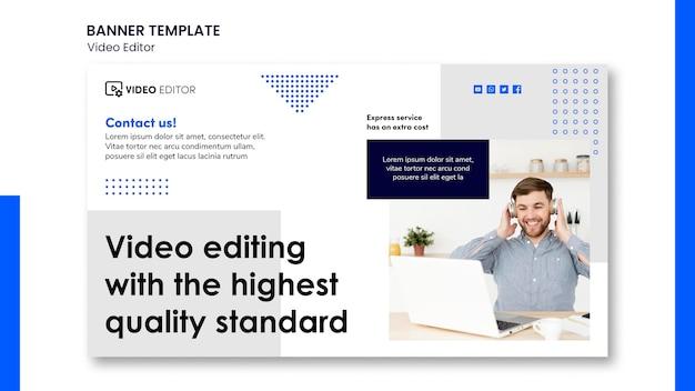 Horizontal banner for video editing workshop