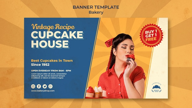 Horizontal banner for vintage bakery shop with woman
