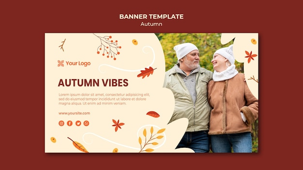 Horizontal banner for welcoming the autumnal season