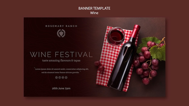 Horizontal banner for wine tasting