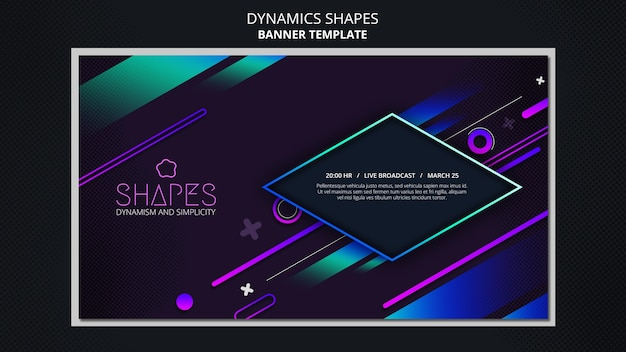 Horizontal banner with dynamic geometric neon shapes