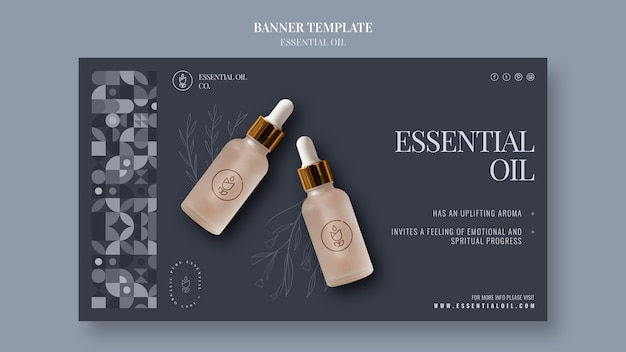 Horizontal banner with essential oil cosmetics