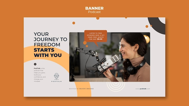 Horizontal banner with female podcaster and microphone