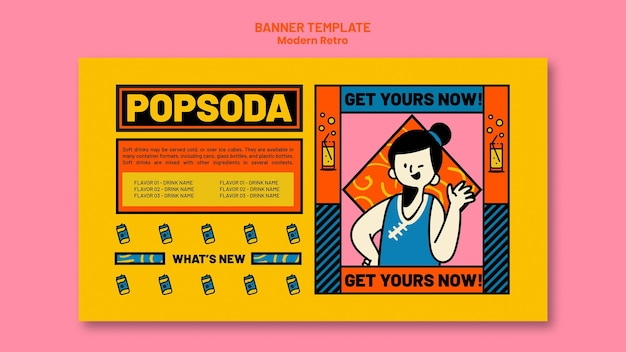 Horizontal banner with modern vintage design for soft drinks