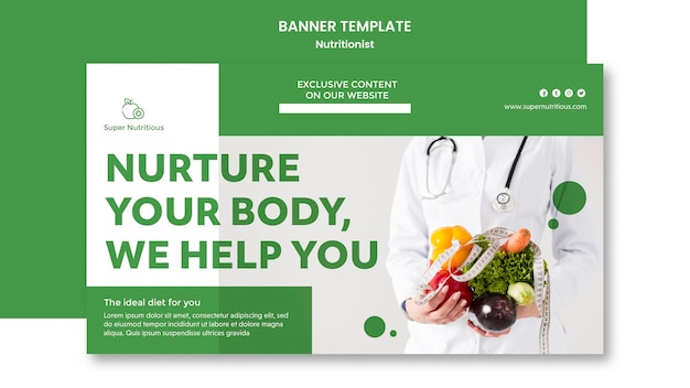 Horizontal banner  with nutritionist advice and photo