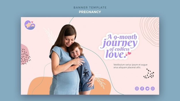 Horizontal banner with pregnant woman