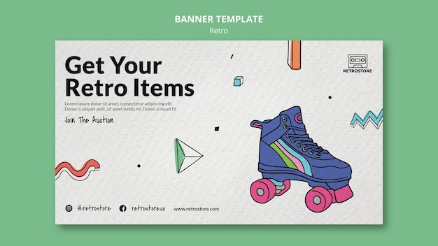 Horizontal banner with retro items