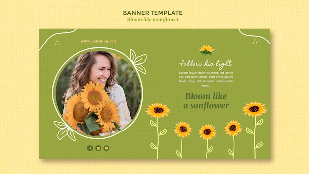 Horizontal banner with sunflowers and woman
