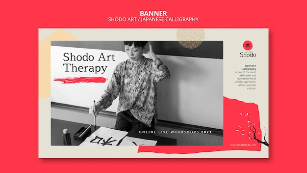 Horizontal banner with woman practicing japanese shodo art