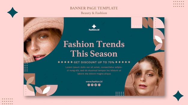 Horizontal banner for women's beauty and fashion