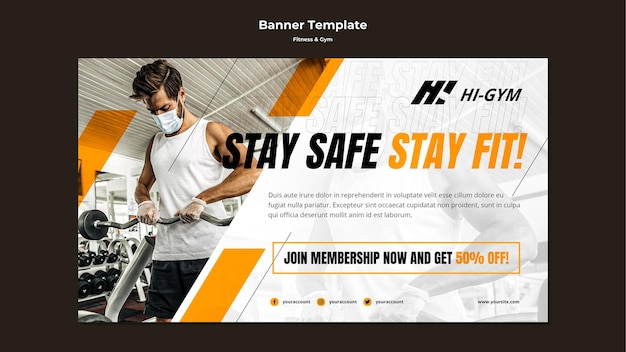 Horizontal banner for working out at the gym during the pandemic