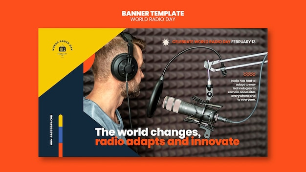 Horizontal banner for world radio day with broadcaster and microphone