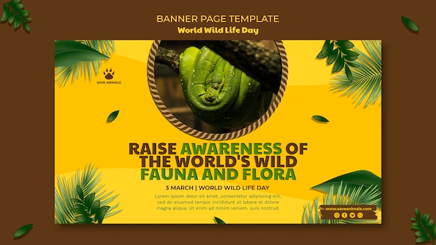 Horizontal banner for world wildlife day with animal
