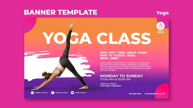Horizontal banner for yoga class with woman