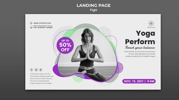 Banner orizzontale per lezioni di yoga