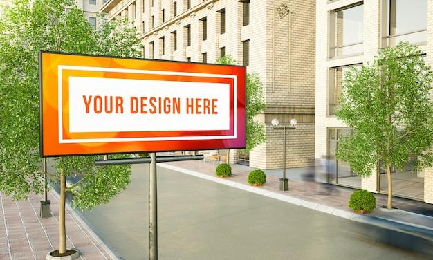 가로등 기둥 3d 렌더링 모형에 수평 광고판 광고