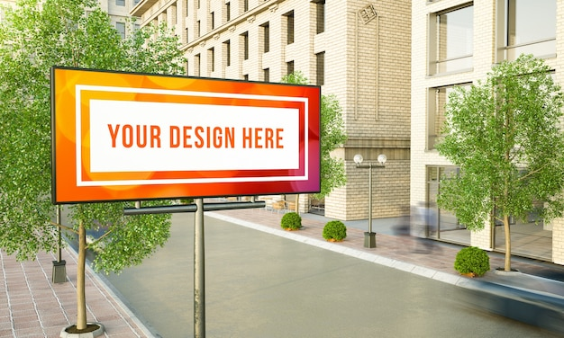 Horizontal billboard advertising on street lamppost 3d rendering mockup