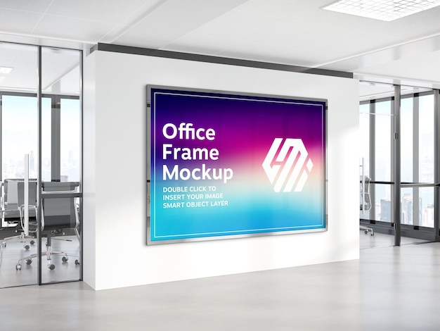 Horizontal billboard hanging on office wall mockup