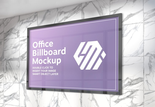 Horizontal billboard hanging on sunlit marble tiles wall mockup