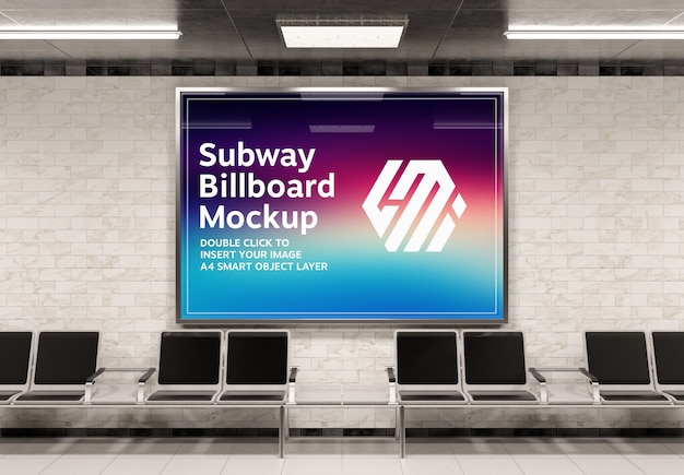 Horizontal billboard in subway station mockup