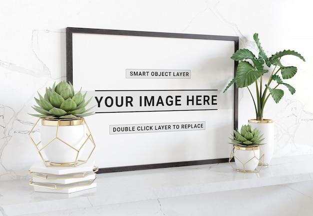Horizontal black frame laying on shelf mockup
