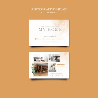 Biglietto da visita orizzontale per negozio online di mobili per la casa