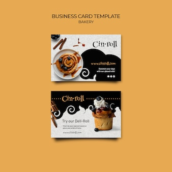 Horizontal business card template for bakery shop