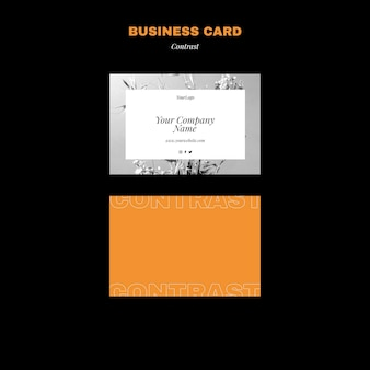 Horizontal business card template for contrasting style