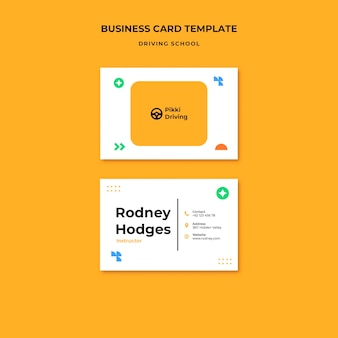 Horizontal business card template for driving school