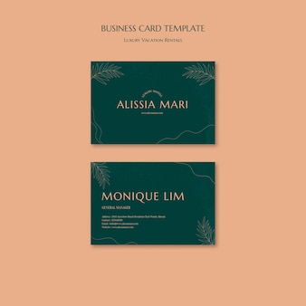 Horizontal business card template for luxury vacation rentals
