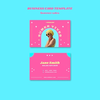 Horizontal business card template for summer sale