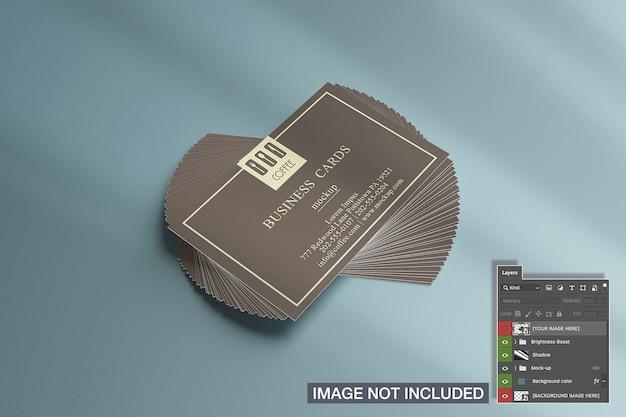 Horizontal business cards stack mockup