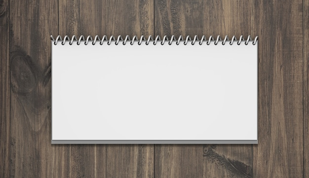 Horizontal calendar mockup with wood