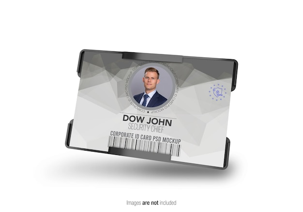 横型企業idカードホルダーモックアップ