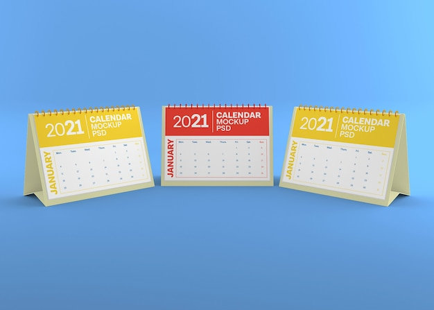 Horizontal desk calendar mockup isolated