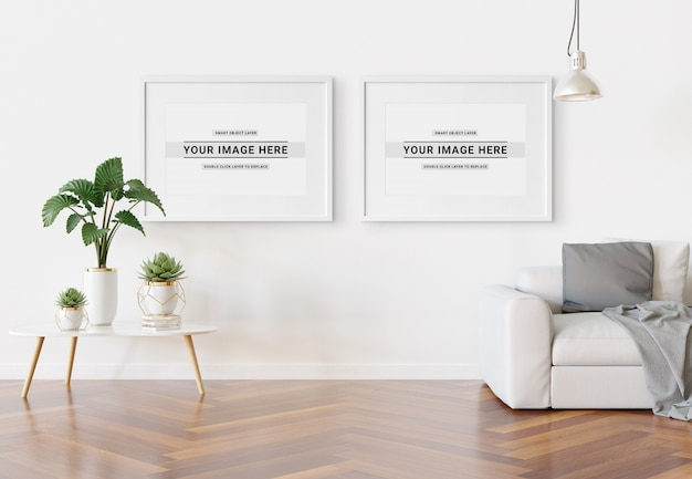 Horizontal frame hanging in modern interior mockup