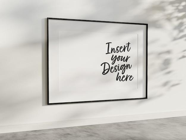 Horizontal frame hanging on wall mockup